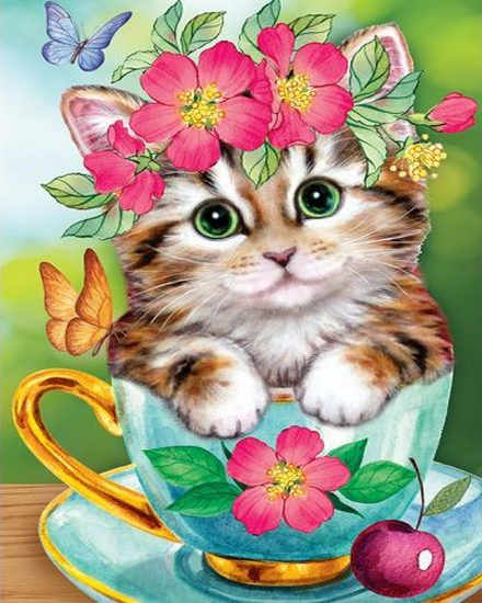 Котенок в кружке JA 21147 - Алмазная мозаика 21х25