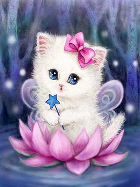 Картинках белого, открытка котенком